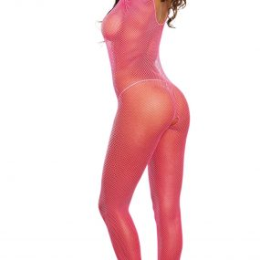 Dreamgirl One Size Hot Pink Fishnet Open Crotch Bodystocking